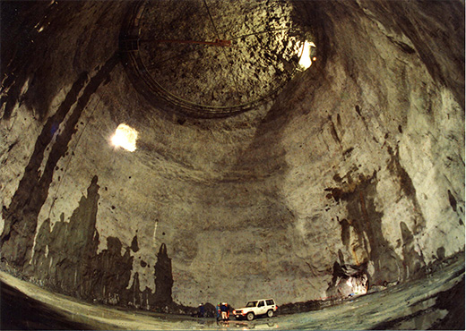 The vast underground chamber built by Mitsui Kinzoku to house Super-Kamiokande